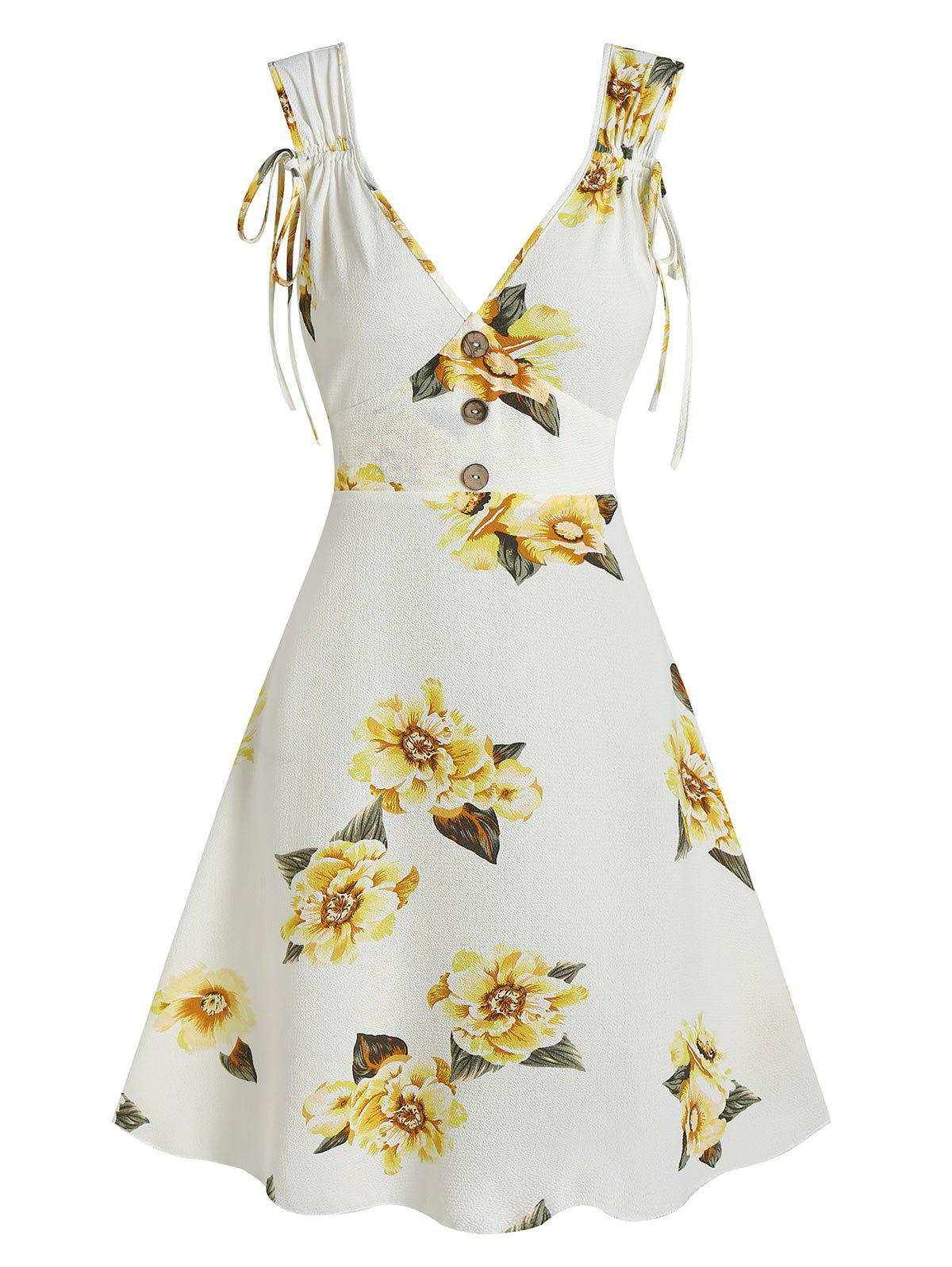 Unique Flower Print Cinched Sleeveless Mock Button Dress
