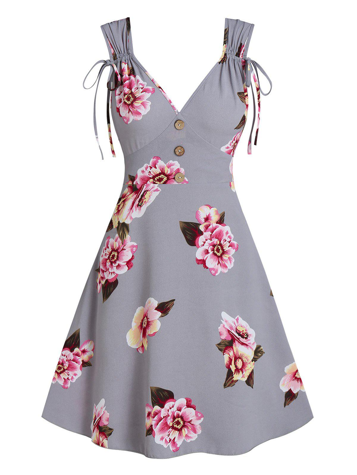 Fashion Flower Print Cinched Sleeveless Mock Button Dress