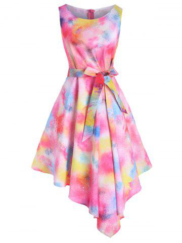 Tie Dye Flower Pleated Waist Asymmetrical Dress