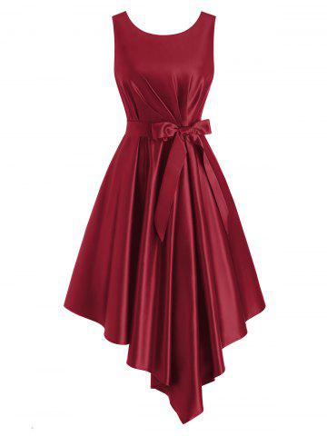 Pleated Waisted Belted Sleeveless Asymmetrical Dress - RED - L