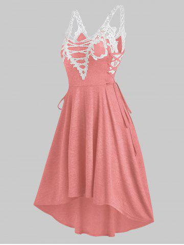 Sleeveless Lace Insert Lace-up High Low Dress