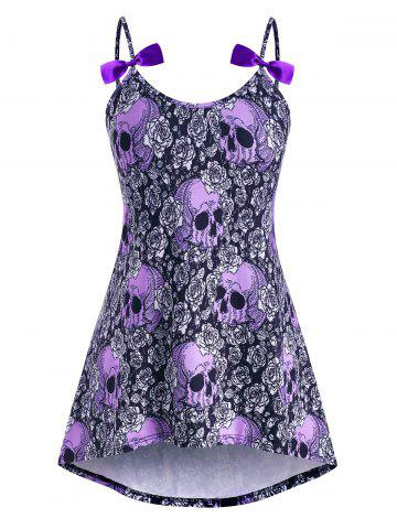 High Low Bowknot Skull Rose Halloween Plus Size Cami Top - PURPLE - 4X