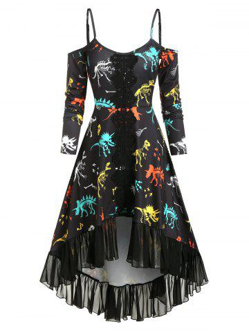 Cold Shoulder Dinosaur Bone Print Ruffle Dress