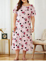Plus Size Cherry Heart Print Nightdress -