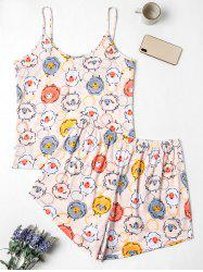 Plus Size Cartoon Sheep Print Short Pajama Set -