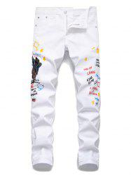 Angel Embroidery Letter Grafitti Denim Pencil Pants -