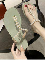 Faux Pearl Beaded Flat Thong Slides Sandals -