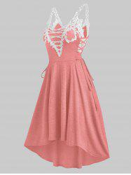 Sleeveless Lace Insert Lace-up High Low Dress -