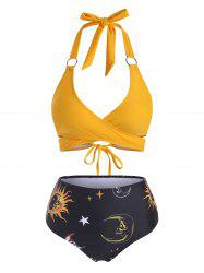 Sun Star Moon Print High Waisted O Ring Embellished Bikini Swimwear -