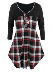 Plus Size V Notch Plaid Buttoned Curved Tunic Tee -