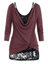 Plus Size Draped Cowl Neck T-shirt and Lace Sheer Cami Top Set -