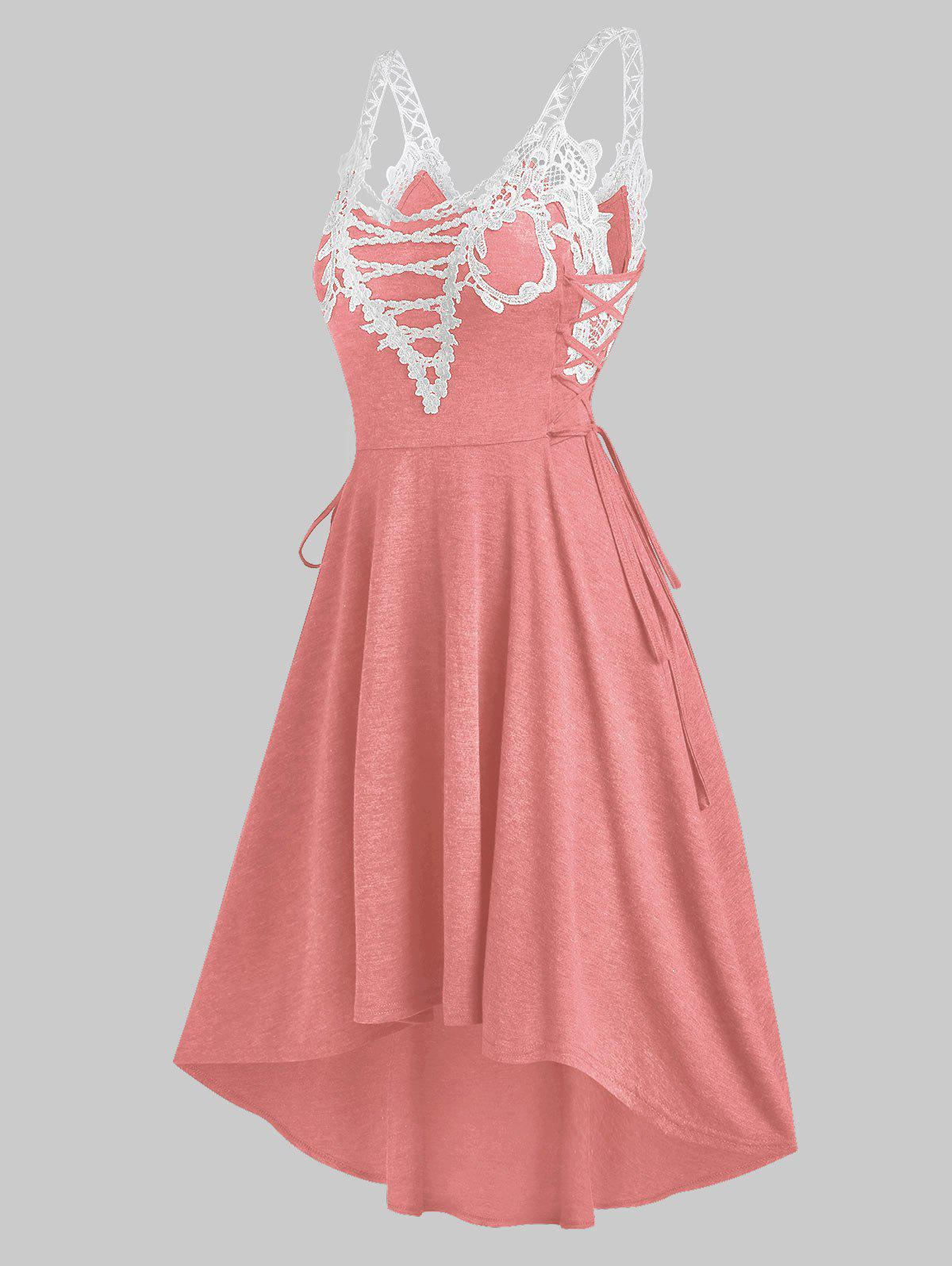 New Sleeveless Lace Insert Lace-up High Low Dress