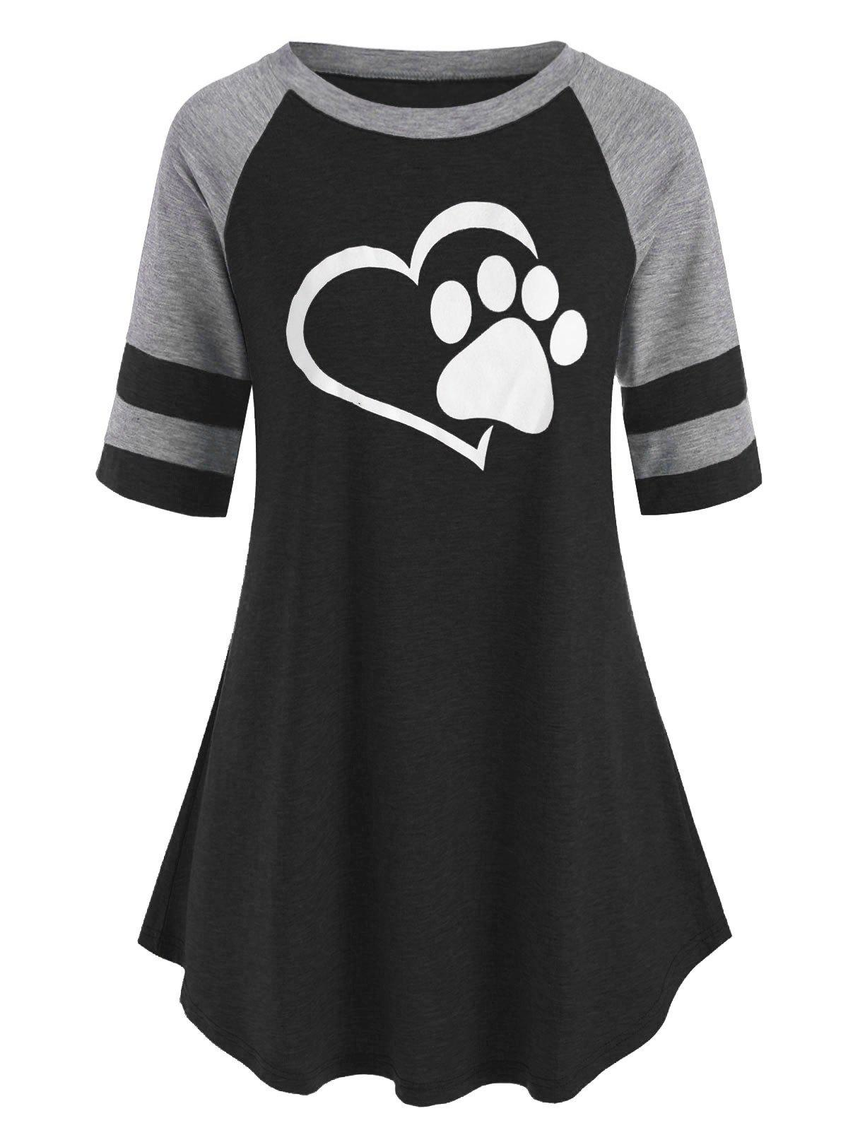 Hot Plus Size Contrast Color Raglan Sleeve Graphic T Shirt