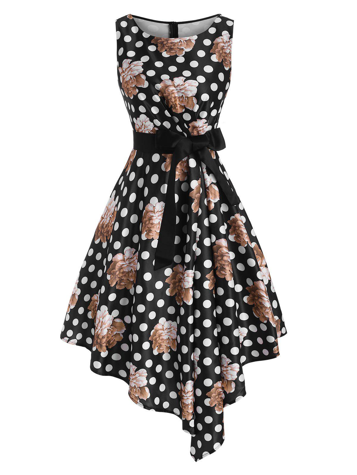 Store Floral Print Pleated Waist Belted Asymmetrical Dress
