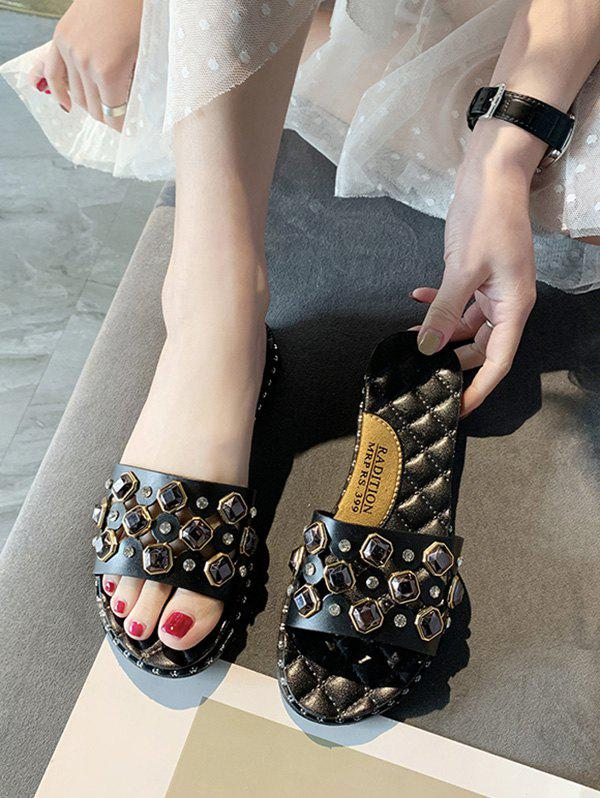Latest Cut Out Rhinestone Quilted Flat Slides