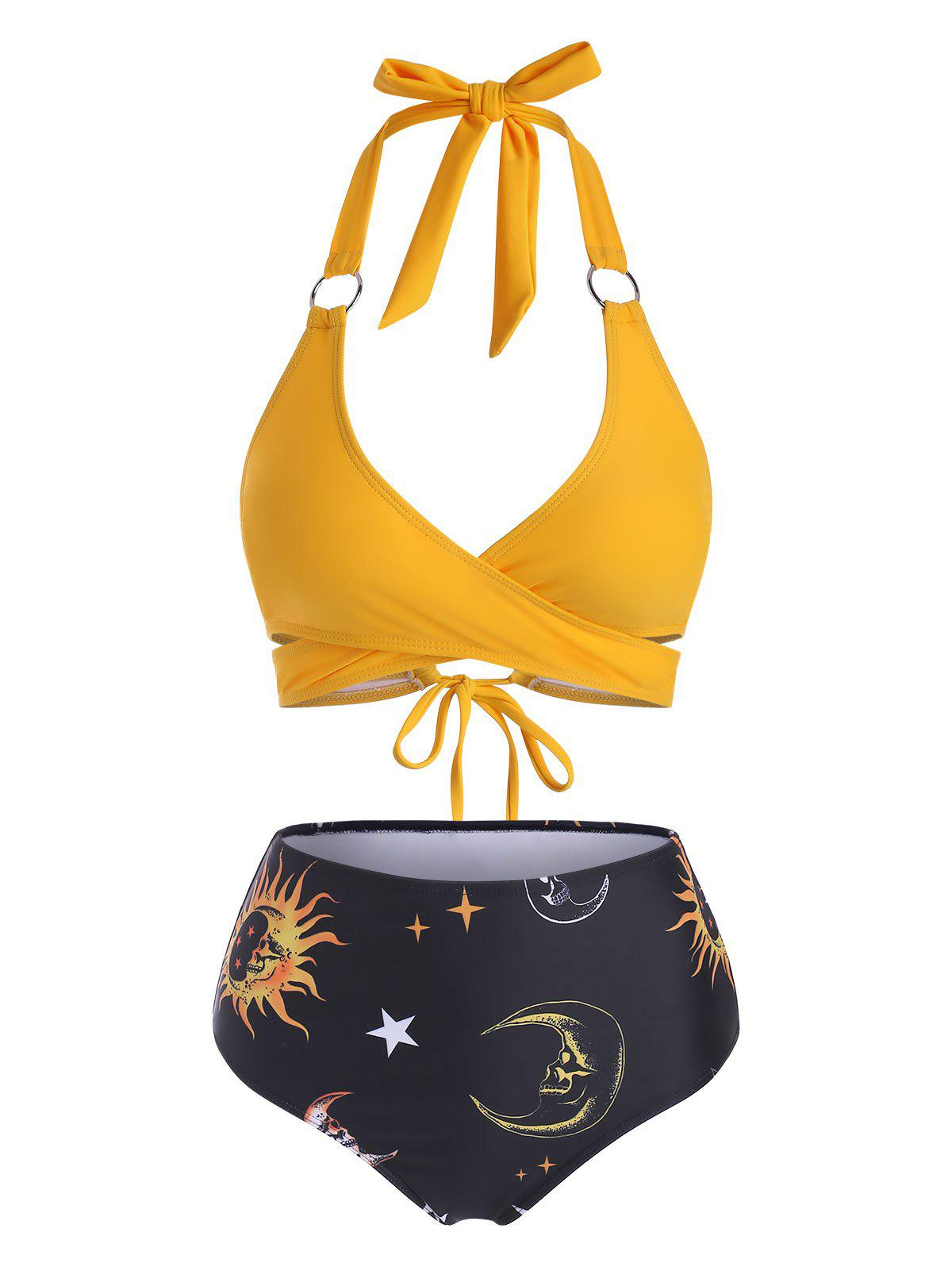 Fancy Sun Star Moon Print High Waisted O Ring Embellished Bikini Swimwear