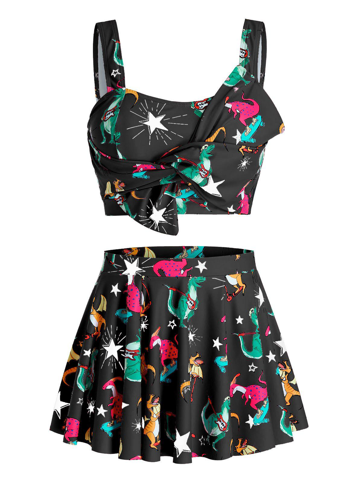 Outfits Plus Size Dinosaur Star Knotted Skirted Tankini Swimwear