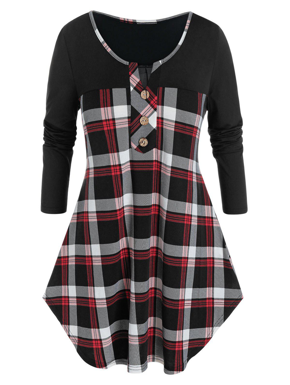 Hot Plus Size V Notch Plaid Buttoned Curved Tunic Tee