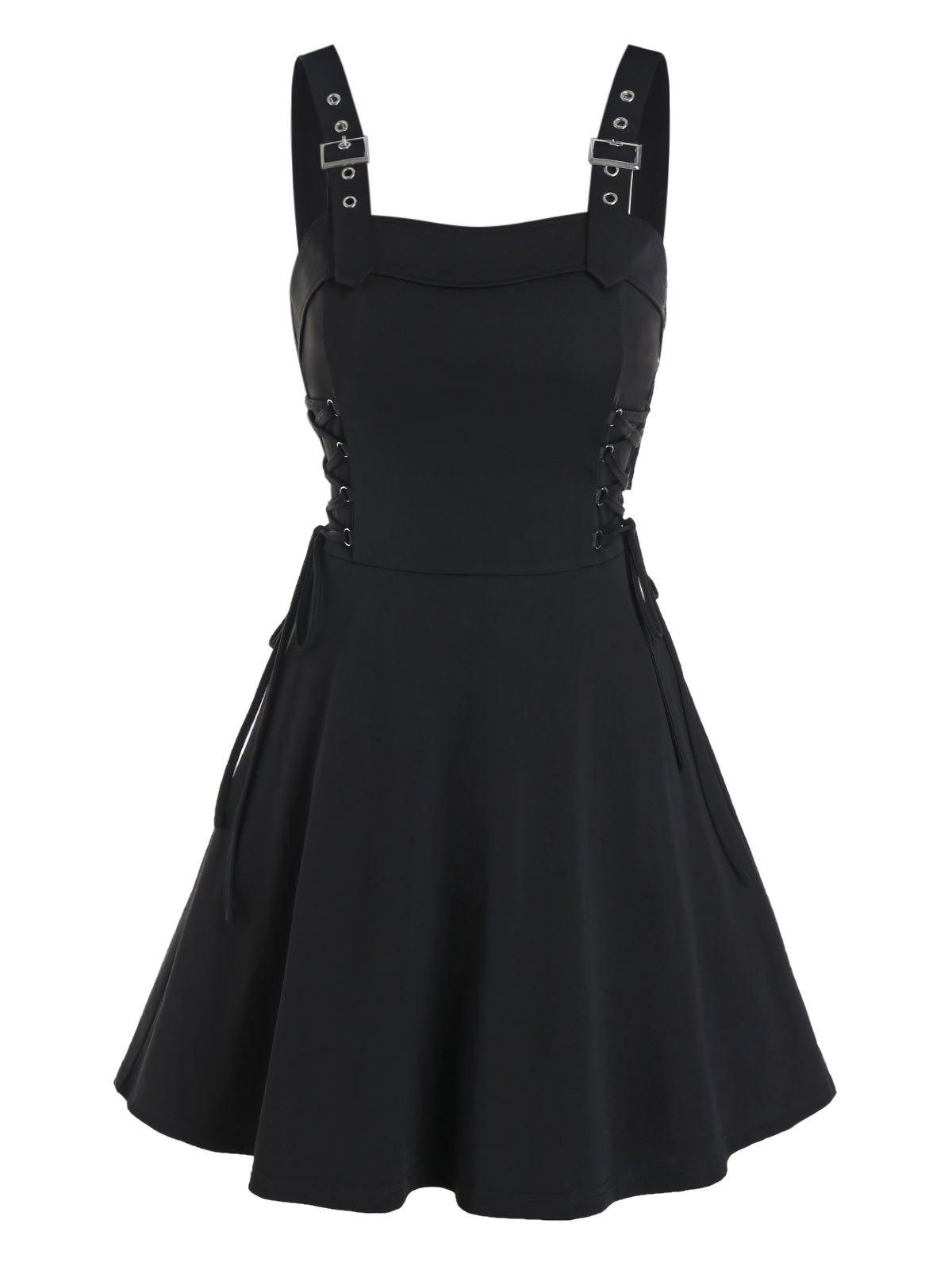 Affordable Buckle Strap Lace-up Sleeveless Mini Dress