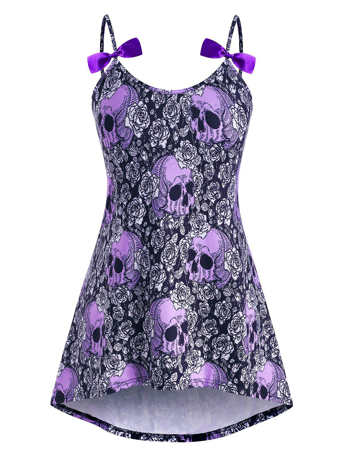 Best High Low Bowknot Skull Rose Halloween Plus Size Cami Top