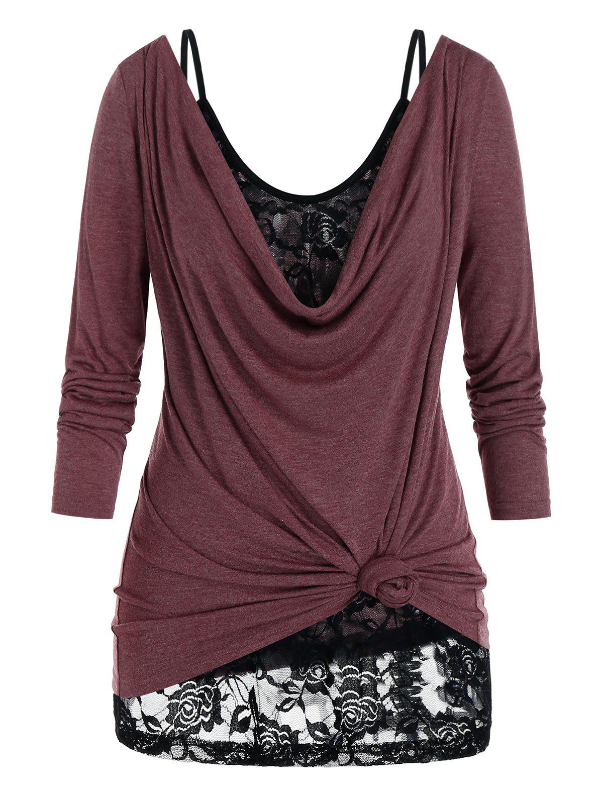 Outfits Plus Size Draped Cowl Neck T-shirt and Lace Sheer Cami Top Set