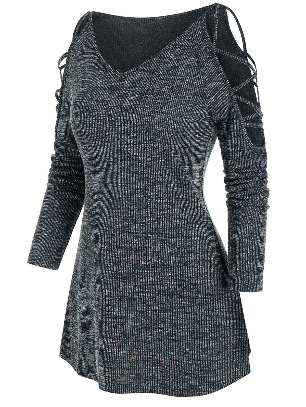 Sale Cold Shoulder Criss-cross Heathered Ribbed T-shirt