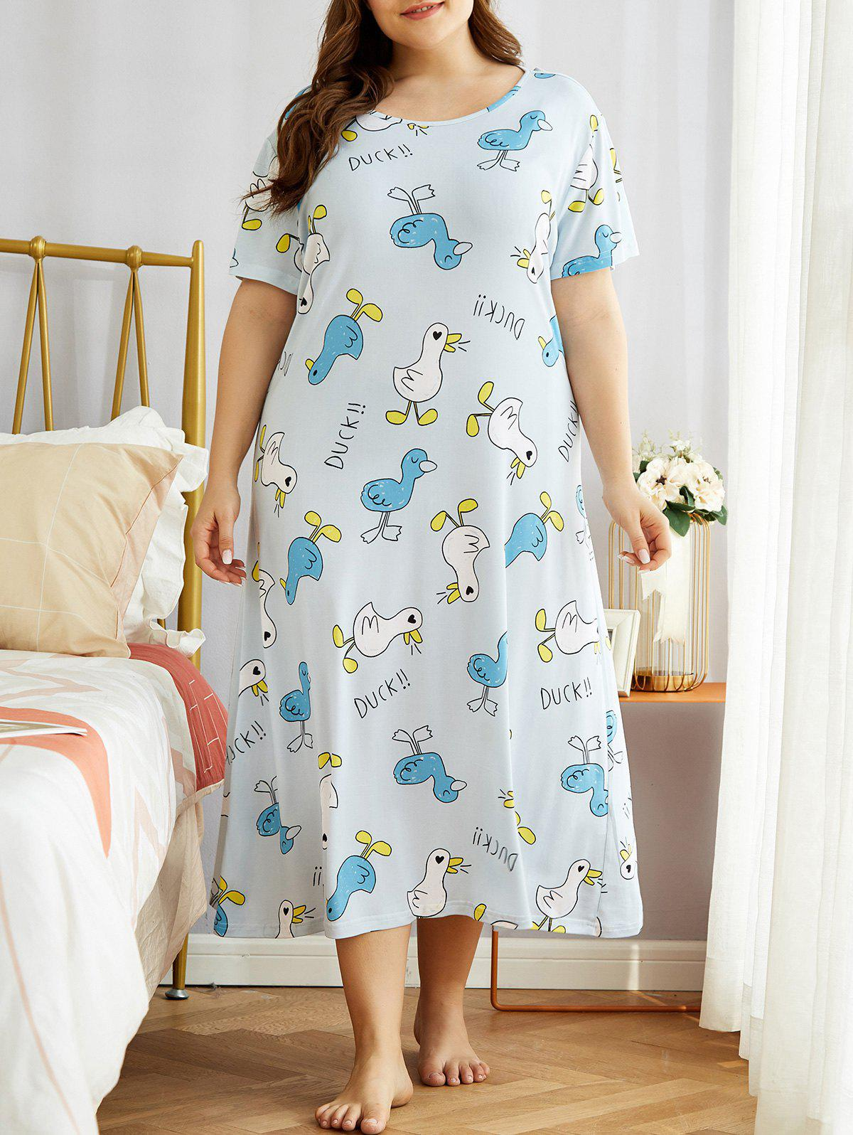 Outfits Plus Size Ducks Print Tee Nightdress