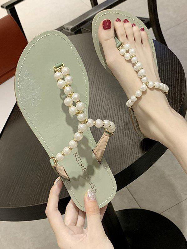 Best Faux Pearl Beaded Flat Thong Slides Sandals