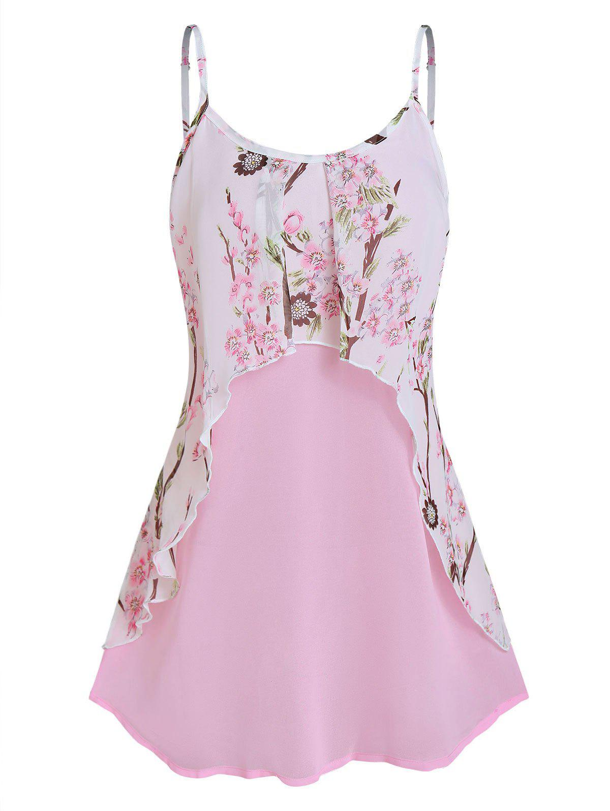 Best Floral Print Layered Chiffon Cami Top
