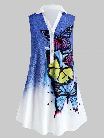 Plus Size Sleeveless Butterfly Print Graphic Blouse - BLUE - 4X
