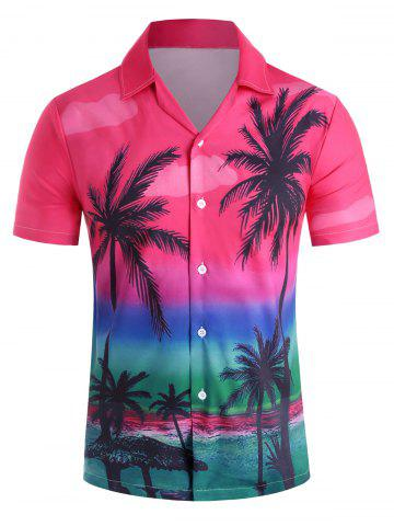 Hawaii Style Casual Short Sleeves Shirt - RED - L