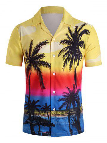 Hawaii Style Casual Short Sleeves Shirt - YELLOW - M
