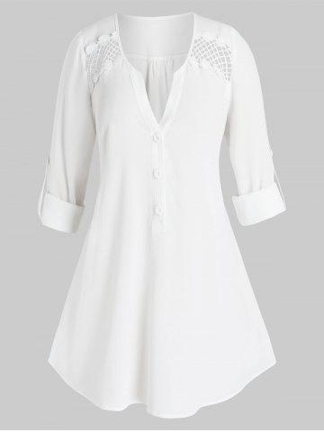 Plus Size V Notch Button Tab Sleeve Openwork Panel Curved Blouse