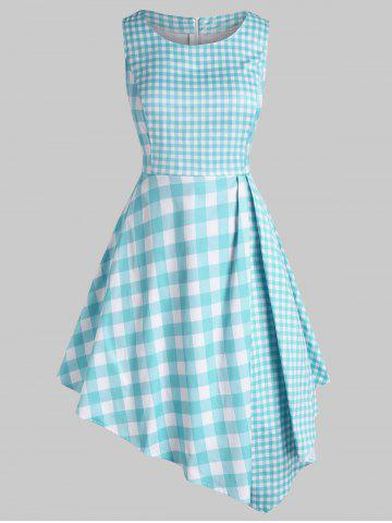 Plus Size Plaid Asymmetrical Dress