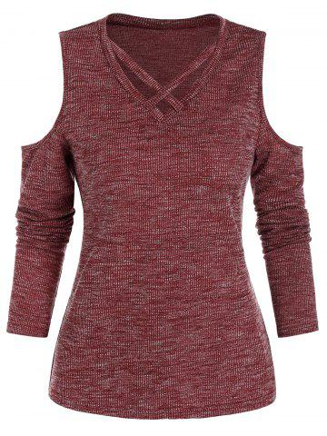 Cold Shoulder Ribbed Criss-cross Heathered T-shirt - RED WINE - 3XL