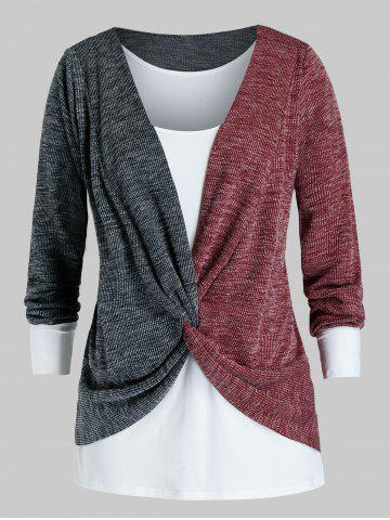 Plus Size Twisted Two Tone Bicolor Sweater and Tank Top Set