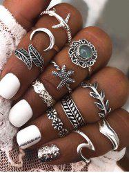 11 Pcs Leaves Starfish Moon Carved Ring Set -