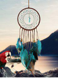 Home Decoration Faux Turquoise Beaded Feather Dream Catcher -