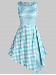 Plus Size Plaid Asymmetrical Dress -
