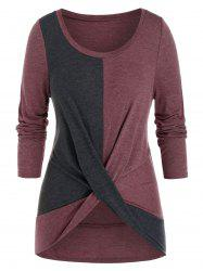 Plus Size Two Tone Bicolor Twisted Tunic Tee -