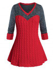 Plus Size Bicolor Two Tone Cable Knit Tunic Sweater -