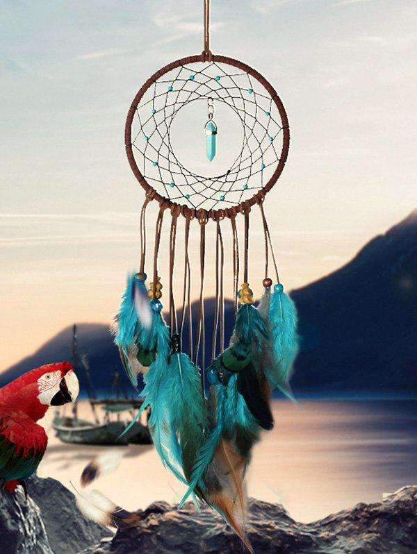 Outfits Home Decoration Faux Turquoise Beaded Feather Dream Catcher