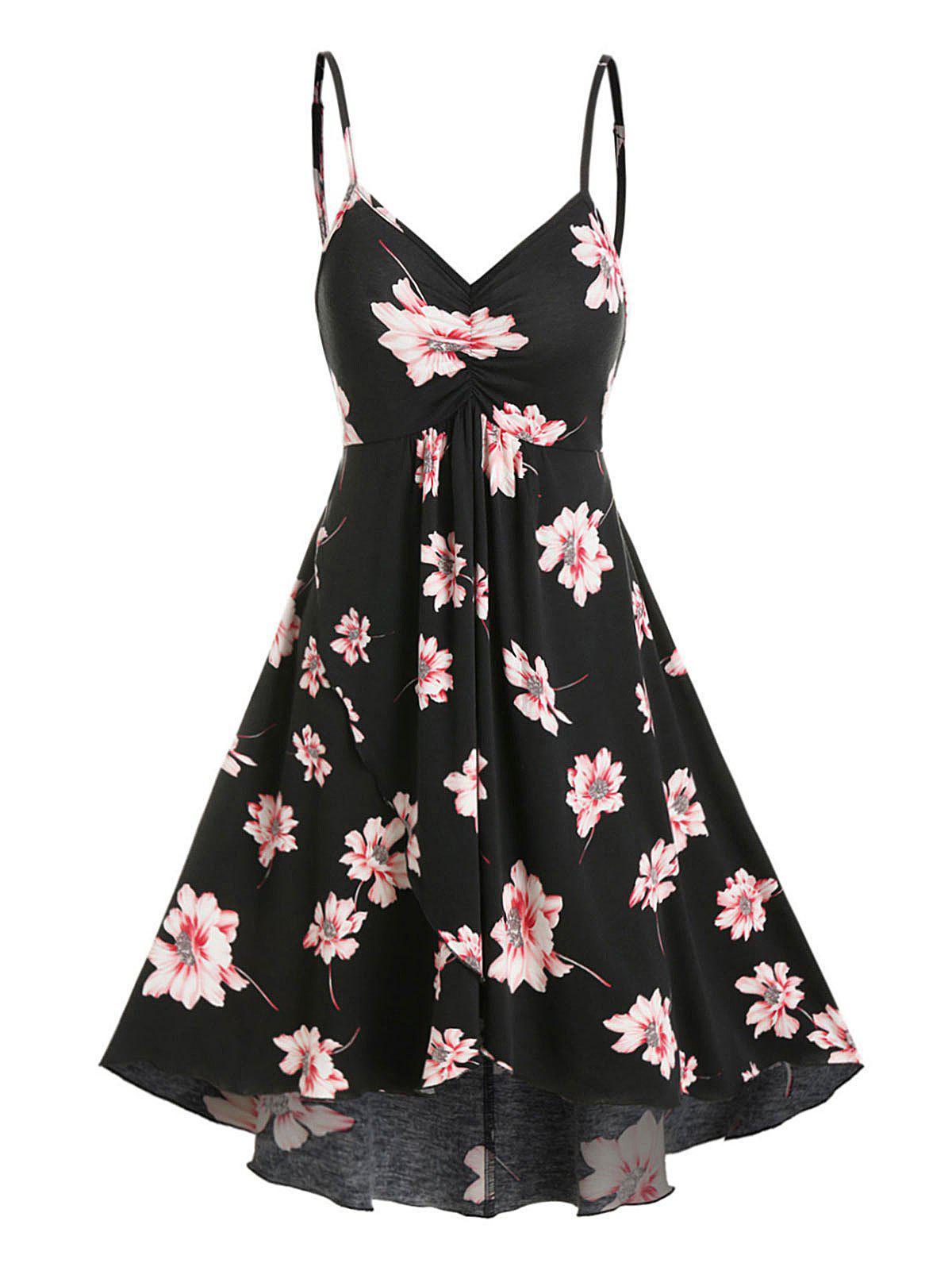 Store Floral Print Ruched Cami A Line Dress
