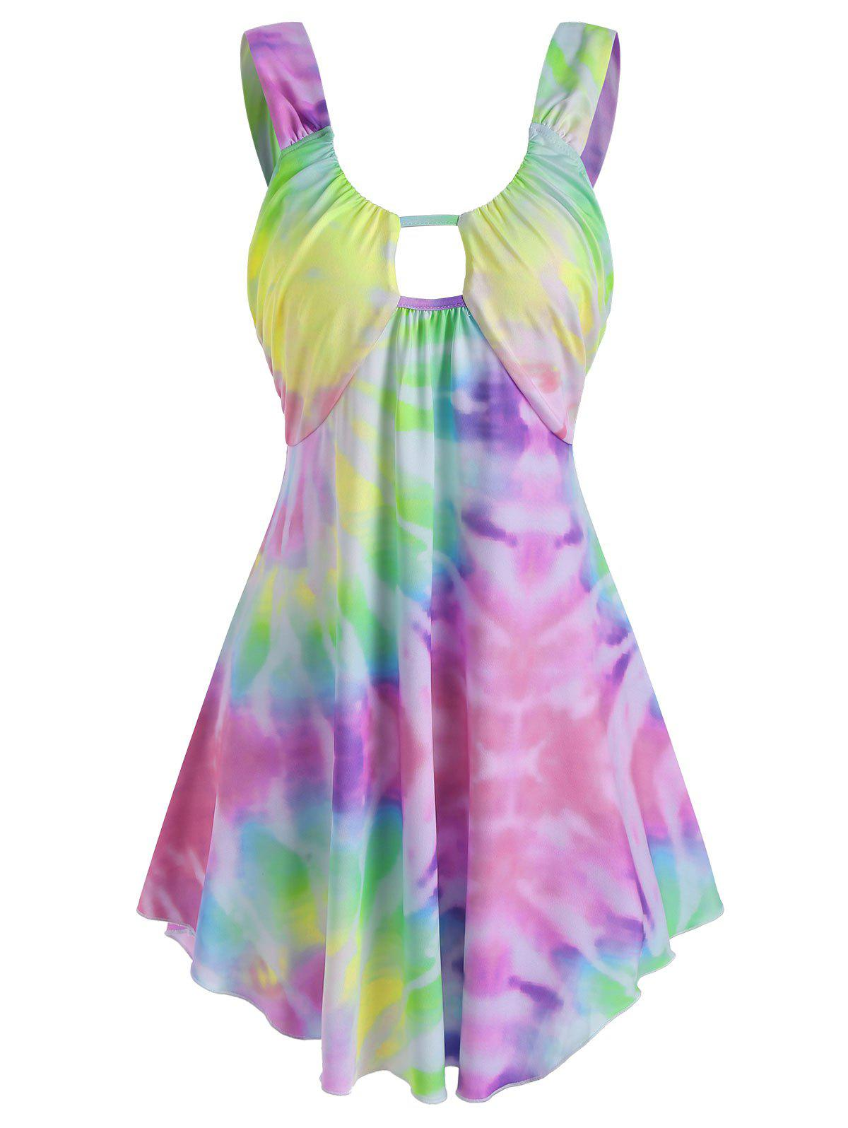 Chic Tie Dye Keyhole Cutout Curved Hem Tank Top
