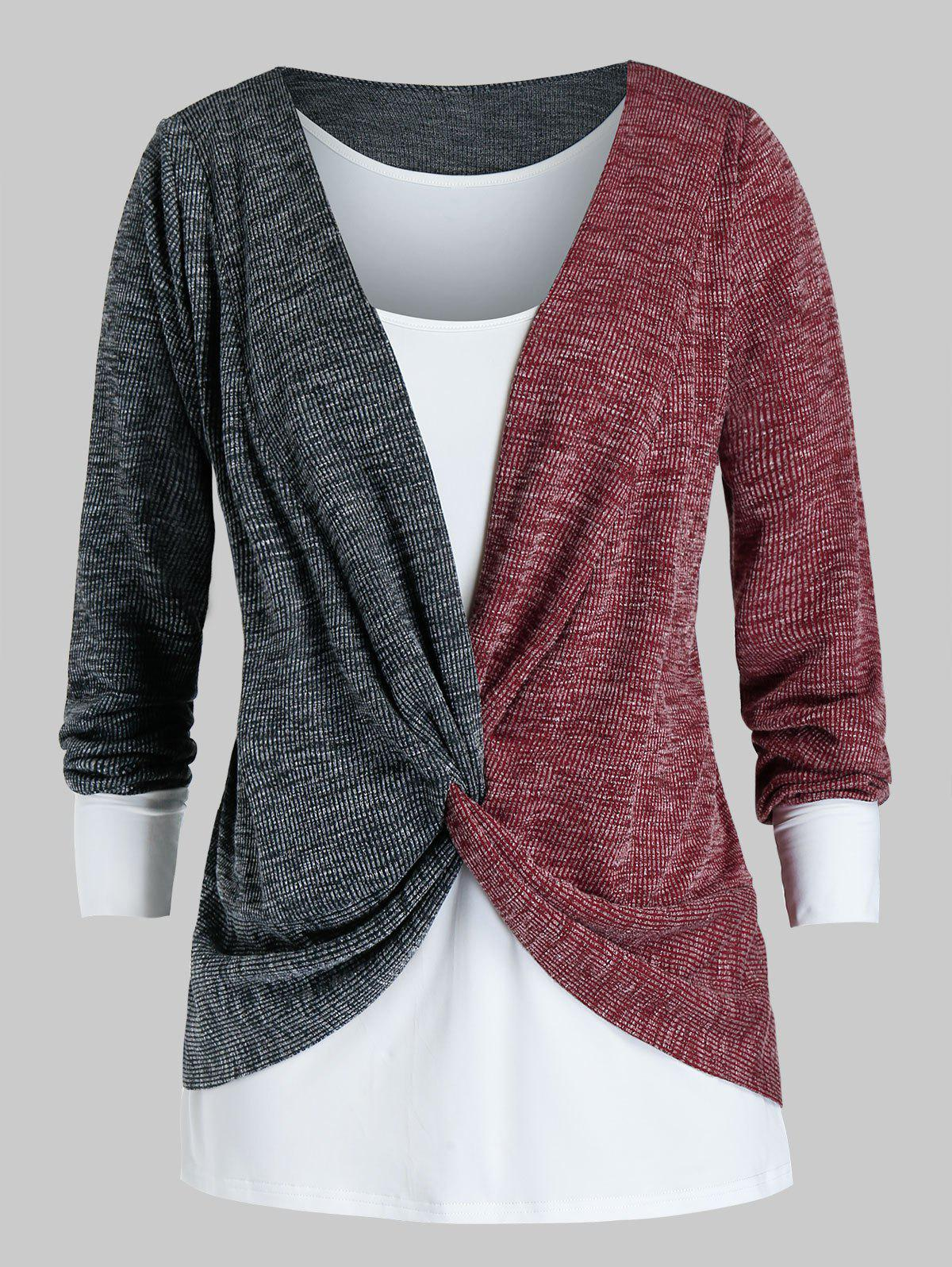 Outfit Plus Size Twisted Two Tone Bicolor Sweater and Tank Top Set