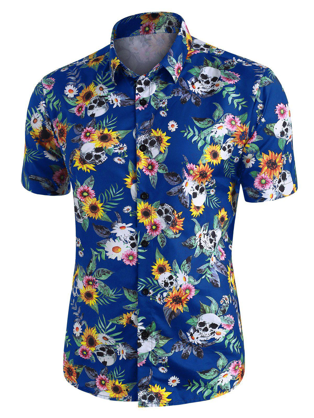 Store Skull Ditsy Floral Button Up Casual Shirt
