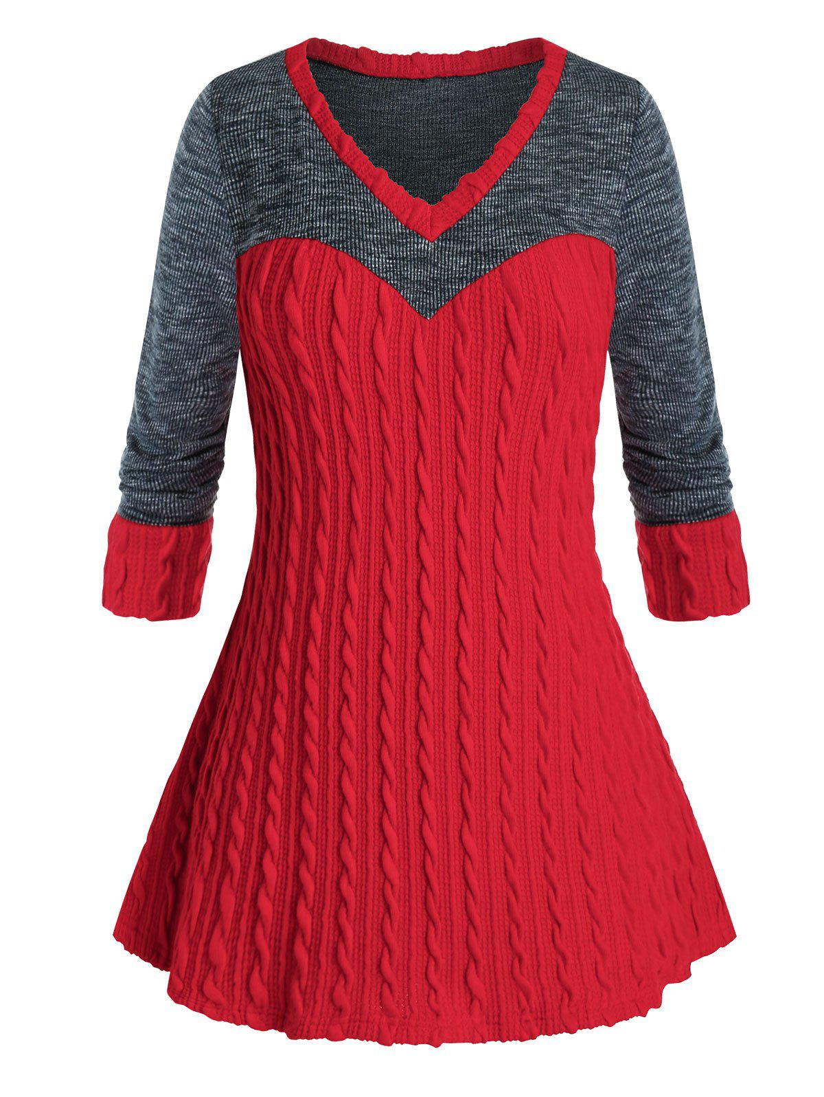Buy Plus Size Bicolor Two Tone Cable Knit Tunic Sweater
