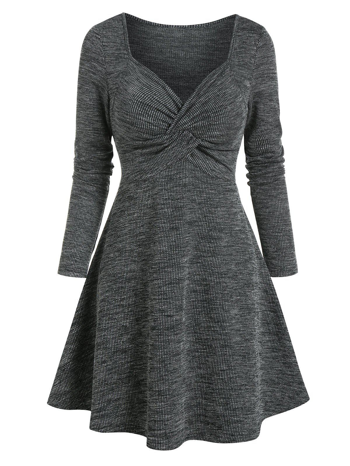 Fancy Long Sleeve Twist Front Heathered Ribbed Dress