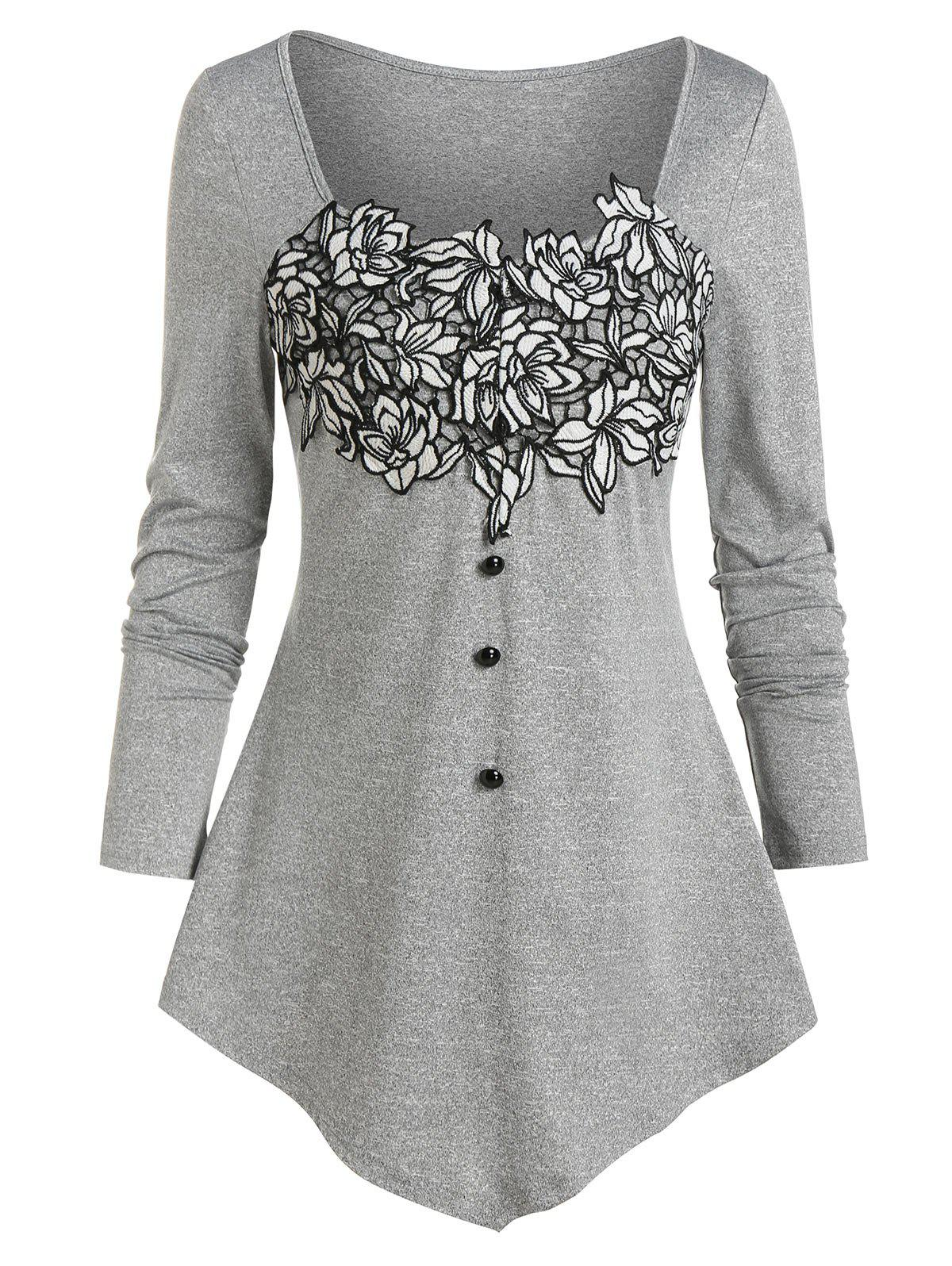 New Pointed Hem Flower Lace Panel T-shirt