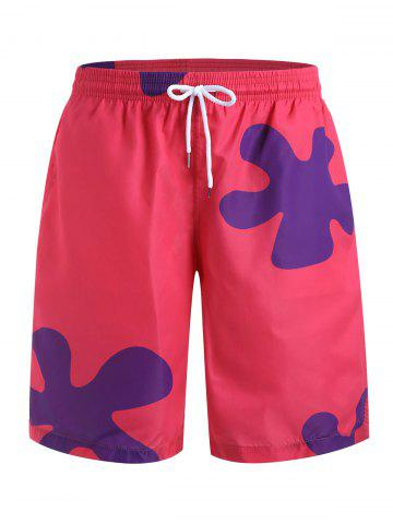 Short de Plage Motif Fleuri à Cordon - LIGHT PINK - 2XL